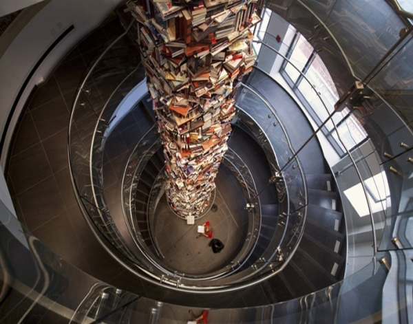 A 34-foot Pillar of 15.000 Books